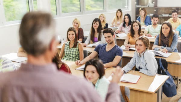 College instructor teaching students
